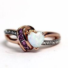 10k rose gold womens SI1 H diamond .005ct opal pink sapphire ladies ring 3.33g