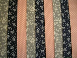 """9 JELLY ROLL STRIPS GREY/NAVY/PINK 44"""" X 2.5""""  100% COTTON PATCHWORK/QUILT GAP"""