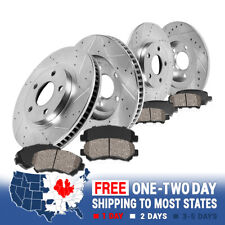 Front & Rear Drill Slot Brake Rotors And Ceramic Pads For Crown Vic Town Car