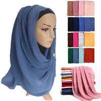 1PC Oversize Crinkle Muslim Hijab Scarf Turban Headwrap Pleated Scarves Shawls G