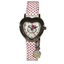Hello Kitty Heart Shaped Watch White Pink Polka Dot Strap Age 6+