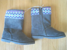 Toddler Girl DIAMOND PATTERN LAVENDER KNIT GRAY FAUX FUR SUEDE BOOTS NWT 11