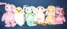 TY 2002 BASKET BEANIE SET - EGGS, GRACE, EWEY, FLOPPITY, HIPPITY & EGGBERT -MINT