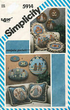 1980's VTG Simplicity Appliqued Pillows&Hoop Wall Hangings Pattern 5914