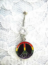 Peace Sign 14g Clear Cz Belly Ring New Gay Pride Rainbow Colors with Black Round
