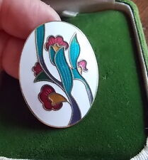 Vintage Gold Tone Cloisonne Enamel Brooch Red Exotic Flower White Oval 5b 56