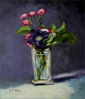 Hand Painted Oil Painting Repro Manet Carnations & Clematis in Vase 20x24in