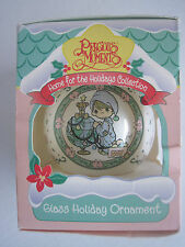 Precious Moments Glass Holiday Ornament 1995  May Your World Be Trimmed With Joy