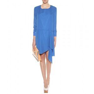 BNWT Acne Size 36 (S 10) Dress Adelle Tape Blue Designer Longsleeve Blouse Mini