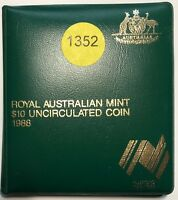 1988 ROYAL AUSTRALIAN MINT $10 UNCIRCULATED COIN 20g Silver    #1352
