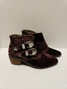NNB Band of Gypsies Velvet Purple Jericho Ankle Pointed Buckle Booties Size 7