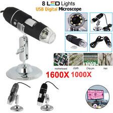1600x 2MP Microscopio Digital Electrónico Professional HD USB LED Medición+Stand