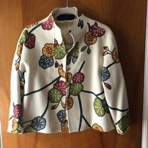 Joanna Mastroianni Vintage 100% Silk Modern Multi-Color Floral Crop Jacket 4
