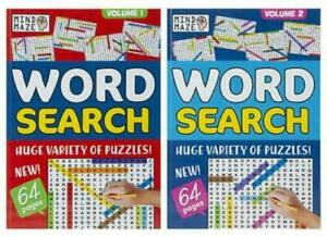 SET OF 2  Word Search Crossword Puzzle Book A4 Large Print For Children Adults