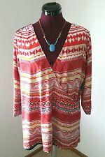 NWT Spruce & Sage Women's Plus Size 1X Tribal Aztec 3/4 Sleeve Wrap Top ~ Defect