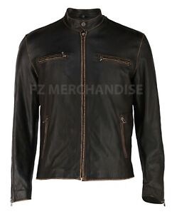 Womens Motorcycle Biker Vintage Distressed Black Faded Real Cow Leather Jacket