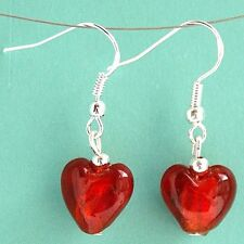 Red Love Heart Earrings with Sterling Silver Hooks New Drop Dangle Style LB44