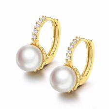 18K Gold Filled 9mm Clutured Pearl&White Topaz hoop leverback wedding earring
