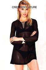 NEW NWT MOTEL BLACK SHEER LACEUP NITA DRESS TUNIC TOP COVERUP SEXY RARE FITS M-L