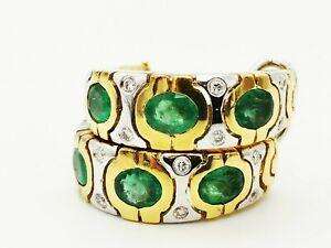 Schmuck handgefertigte 750 Gelbgold-Ohrhänger Smaragd Brillant zus. ca 1,5 Carat