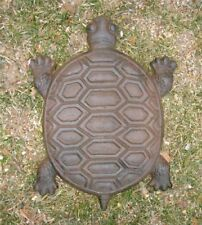 """Turtle Stepping Stone Cast Iron Rustic Brown 13"""" Decorative Garden Stone"""