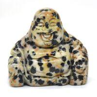 "1.2"" Laughing Maitreya Buddha Figurine Dalmatian Spot Crystal Healing Carving"