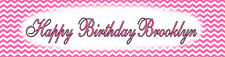 4ft Personalized Name Pink Chevron Birthday Baby Shower Party Banner