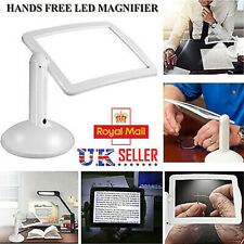 Foldable LED Magnifying Glass Stand With Light Lamp Hands Free Magnifier Clamp