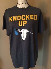 "M /L  T Shirt ""Knocked Up "" Funny Women Pregnant Mom To Be Cute stork its a boy"