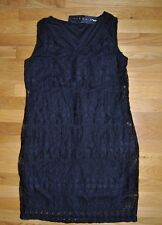 NWT Womens TIANA B. Black Lace Sleeveless Dress Size Medium $98