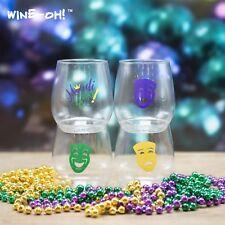 4-pk Wine-Oh! Designer BPA Free Plastic Shatterproof Wine Glass MARDI GRAS