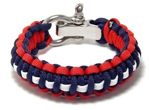 Premium 550 Paracord Survival Bracelet Red White Blue S/S Shackle Hand Made USA