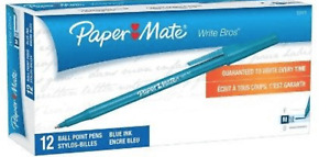 NEW PaperMate Write Bros Ballpoint Pens 12 pack Blue 1.0mm Medium Point!