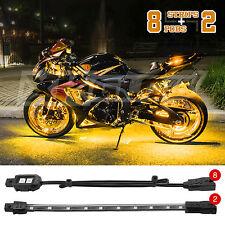 8 SLIM PODS 2 FLEX STRIPS BRIGHT LED MOTORCYCLE ENGINE ACCENT LIGHT KIT AMBER