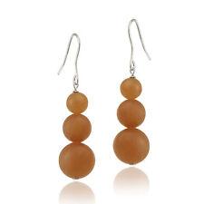 925 Silver Orange Aventurine Three-Stone Drop Earrings