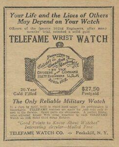 1918 Peekskill New York Telefame Military Watch 102nd Engineers WW1 Print Ad