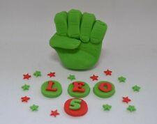 Handmade edible hulk style fist cake topper, birthday