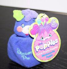NWT 2001 Popples Cutie-Fruity Blueberry-Pie Popple Mini Clip-On Plush Toy