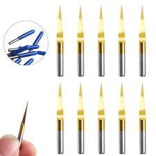 10Pcs/Set Titanium Coated Carbide PCB  10° 0.1mm Engraving CNC Bit Router Tools