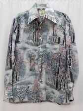 mens VINTAGE 70s Picture Shirt abstract art forest trees retro thin light M