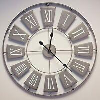 Large Grey Skeleton Wall Clock Shabby Chic Vintage Style Kitchen Hallway 70cm