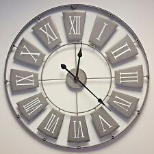Large Grey Skeleton Wall Clock Shabby Chic Vintage Style Kitchen Hallway 70cm