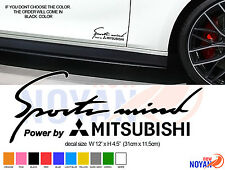 POWER BY MITSUBISHI, SPORT MIND, DECAL FOR  CARS,