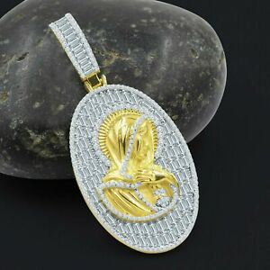 Mens Jesus Mary Religious Pendant 925 Silver Yellow Gold Plated