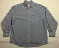 Brooks Brothers Madison Mens 2XL Blue Seersucker Striped Button Down Shirt A4