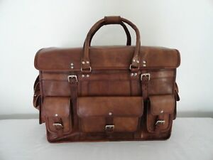 """22"""" Real Brown Leather Weekend Traveling Luggage Handbag Hold-All Bag Suitcase"""