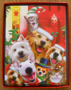 12 CHRISTMAS Leanin Tree Cards Box Set, CAT & DOG SELFIES W/ CHRISTMAS HATS ON