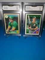 1988 topps ROOKIE combo MARK MCGWIRE  GMA 8  JOSE CANSECO GMA 8 ! BASH BROTHERS!