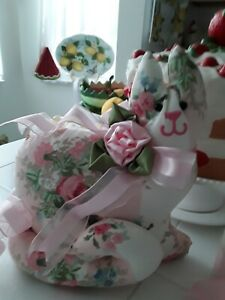 SHABBY PINK ROSES LAURA ASHLEYS ISABELLE PINK KITTY CAT SHAPE PILLOW