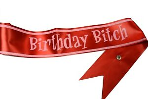 """""""Birthday Bitch"""" Party Sash One Size Red Pink Sparkles Gag Gift Fun Times"""
